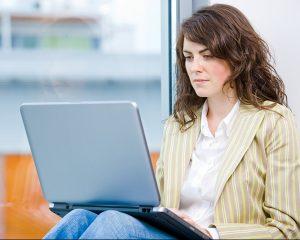 Businesswoman working on computer