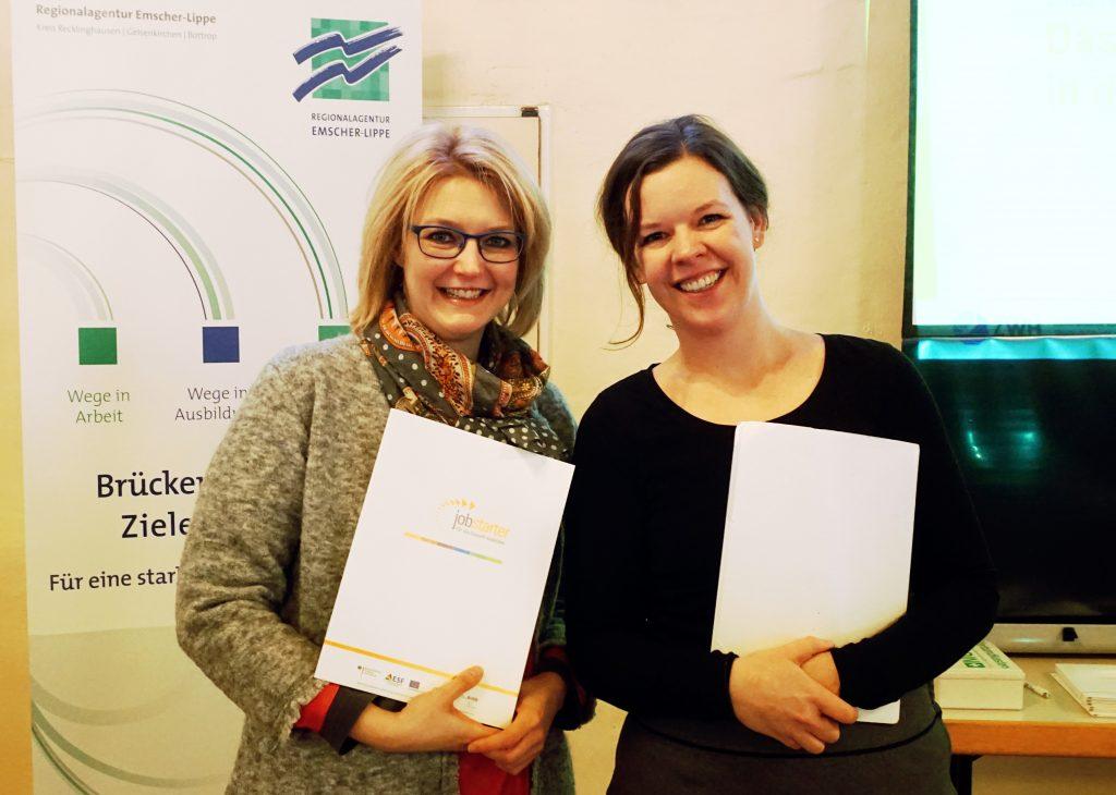 Alexandra Bretschneider und Juliane Kriese am Jobstarter Info-Tag in Herten